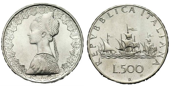 le 500 Lire in argento caravelle