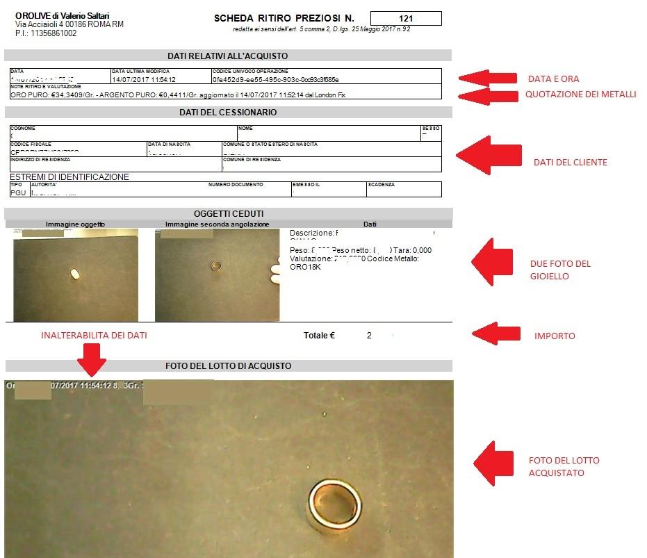Esempio di scheda INALTERABILE effettuata nel nostro compro oro OroLive